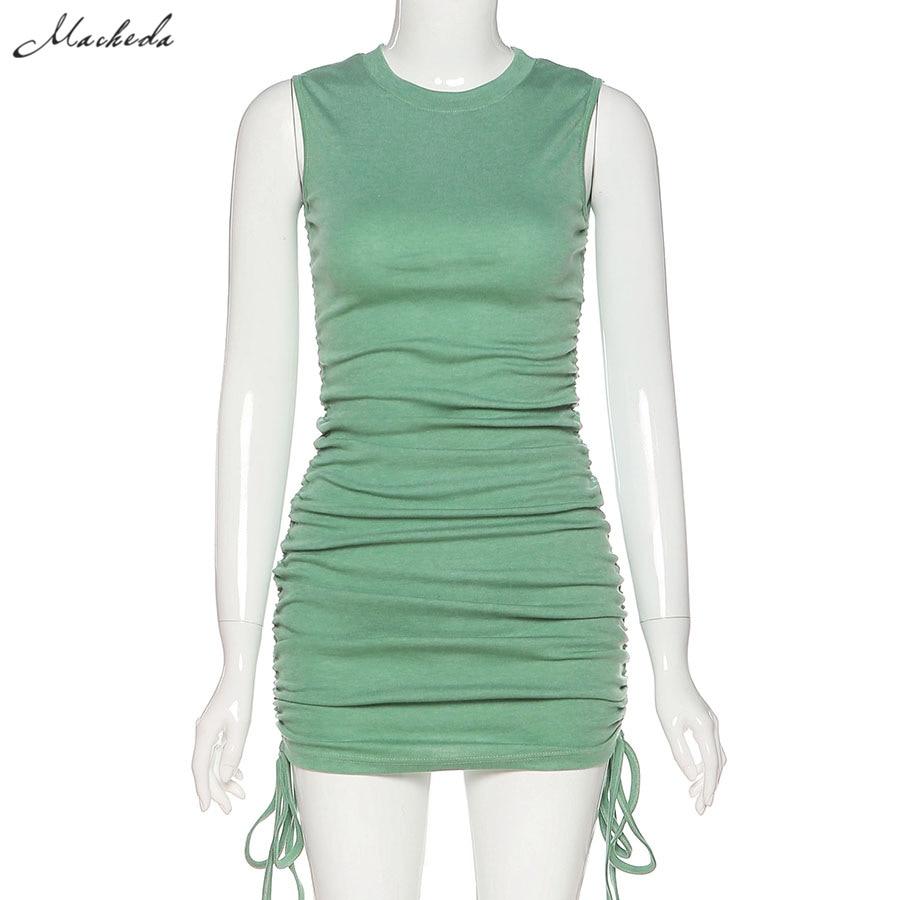 Macheda Summer Solid Casual Vacation Slim Dress Women knitting O Neck Sleeveless Fashion Skinny Lady Mini Wrap Dress 2020 New