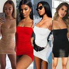 Sexy solid color sling mini dress 2019 summer women sleeveless backless slim dress female party sexy plunging neck solid color sleeveless mini dress for women