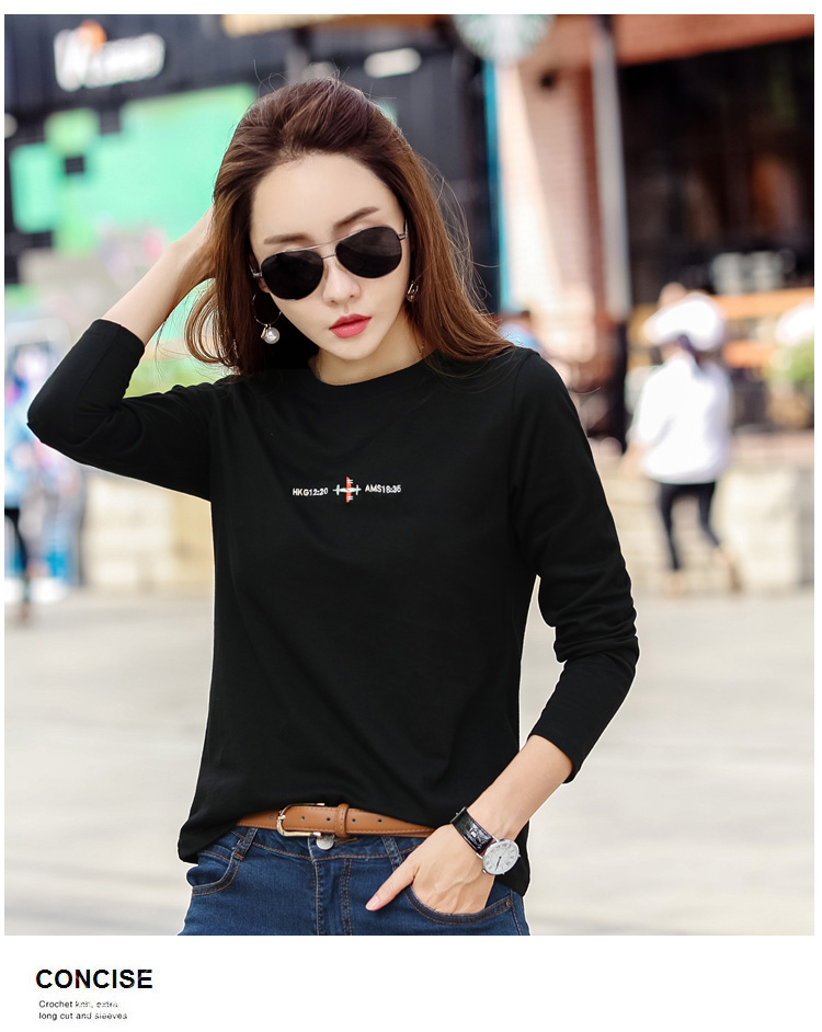 In The Spring And Autumn Is Natural Pure Cotton Long Sleeve T-shirt Yards Loose Embroidery Cotton Render Unlined Upper Garment