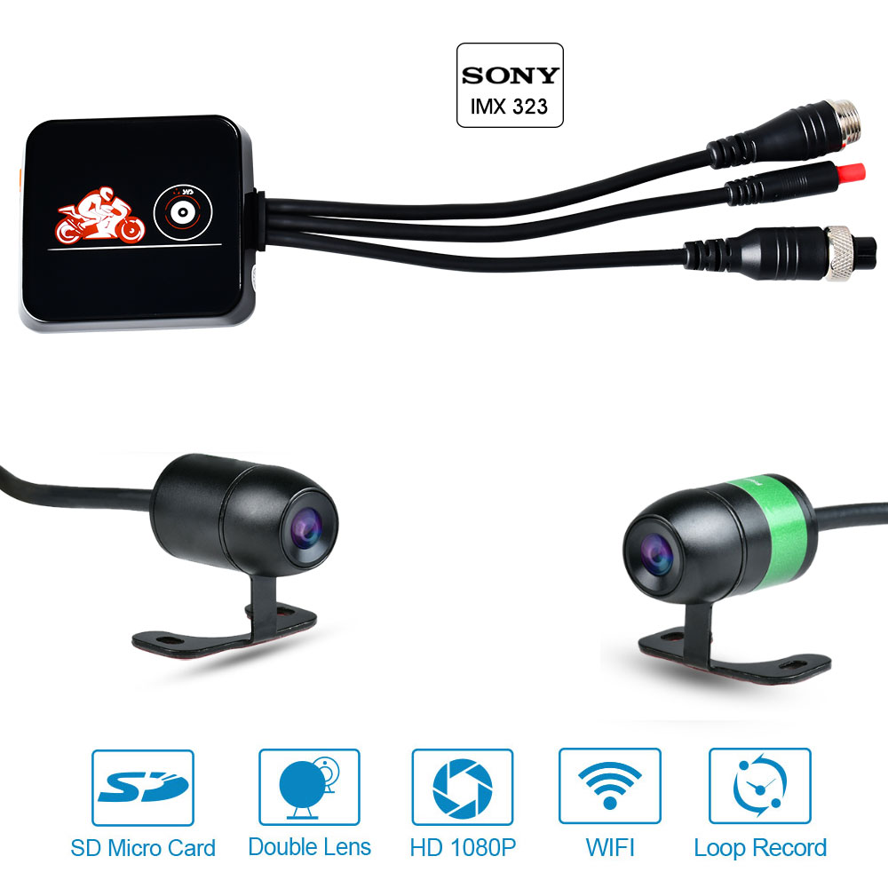 Motorcycle DVR WiFi Dual Camera Dash Cam Front 1080P+720P Rear View Motorbike Camera Moto Driving Recorder