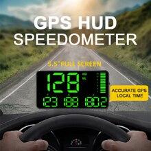 5.5 นิ้ว GPS Speedometer C90 ความเร็ว KM/H MPH สำหรับรถยนต์รถจักรยานยนต์ GPS Overspeed ปลุก HUD จอแสดงผลจอแสดงผลรถ HUD