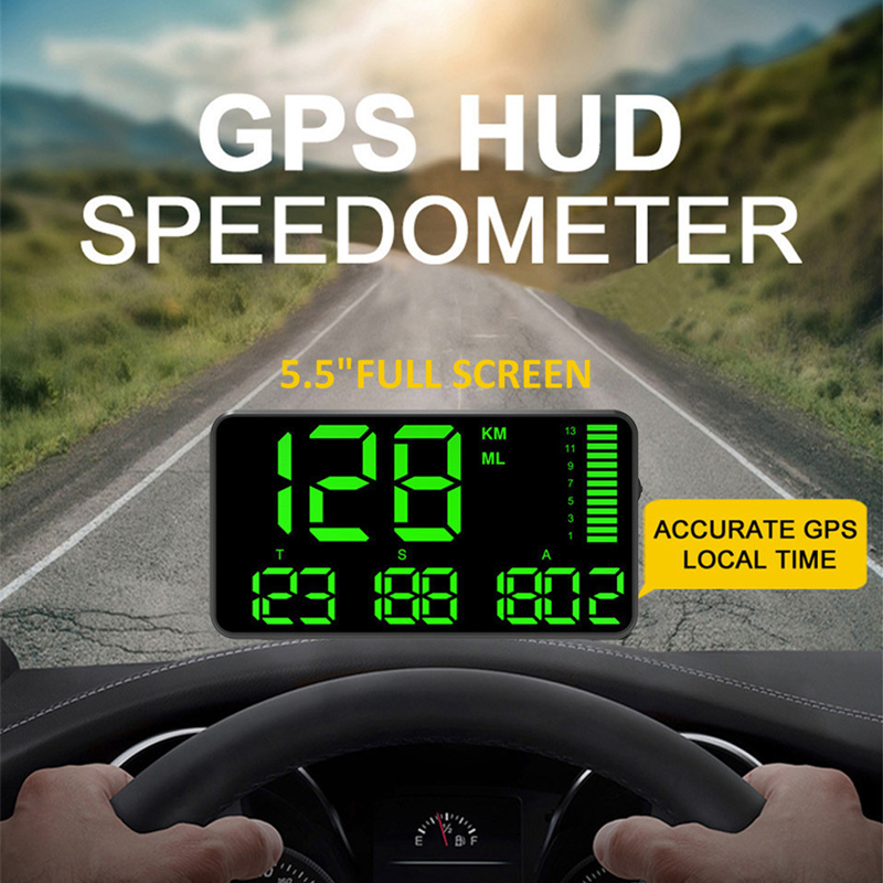 5.5 Inch GPS Speedometer C90 Speed Display KM/H MPH For Car Bike Motorcycle GPS Overspeed Alarm Hud Display      Car Hud Display