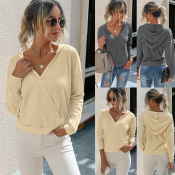 Solid Color V Neck Women Pullover Hoodies Long Sleeve Fashion Casual Ladies Hooded Shirt Tops Autumn Female Sweatshirt D30 women solid color plush hooded sweatshirt autumn winter long sleeve loose warm hoodies coat pockets casual fashion outwear tops