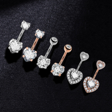 Surgical steel Navel Belly Button Ring Barbell Zircon Heart Piercing Sexy Belly Bars Belly Button Rings Belly indian jewelry cheap yanqueens Titanium Zinc Alloy Navel Bell Button Rings TRENDY ED195-ED200 Rhinestone
