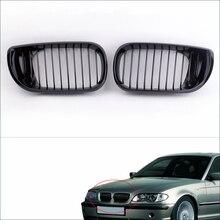 2Pcs Nero Lucido Rene Griglia Anteriore per BMW E46 3 Serie 4 Porte 2002 2005 Car Styling