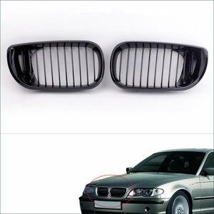 Image 1 - 2Pcs Nero Lucido Rene Griglia Anteriore per BMW E46 3 Serie 4 Porte 2002 2005 Car Styling