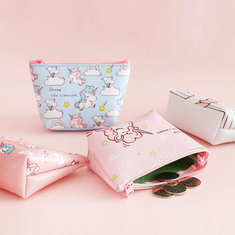 Mini carteiras com bolsa de unicórnio, bolsa fofa para moedas estampada de animais, meninas e crianças
