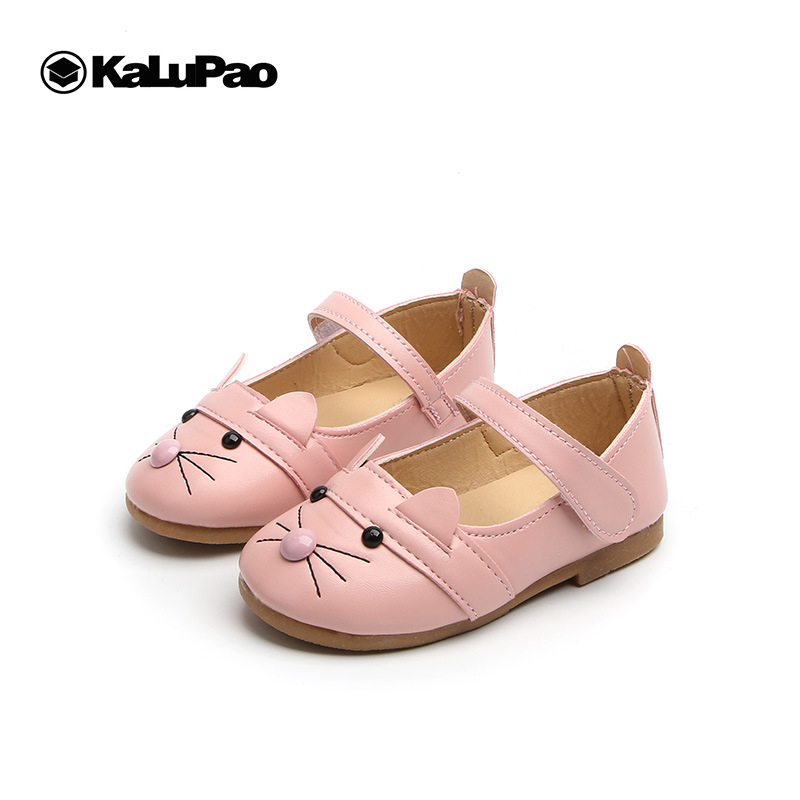 Kalupao Girls Leather Shoes 2019 Spring Autumn Children Sneakers Cartoon Cat Kids Baby Leisure Single Shoes For Female Kids