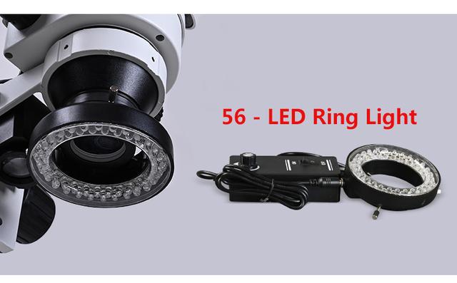 ZOOM 3 5 90X duży stół warsztatowy stereo hd mikroskop Trinocular lutowania PCB smartphone naprawa telefonu przemysłowa lampa pierścieniowa led tanie i dobre opinie MUOU 500X i Pod OSL-525 Metal Wysokiej Rozdzielczości Mikroskop stereoskopowy 3 5X - 90X 0 5X 2X 56 LED Ring Light 25cm*38cm