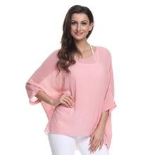 New Woman Batwing Sleeve Chiffon Shirt Bohemian Solid color Tee Oversized Blouse YF350