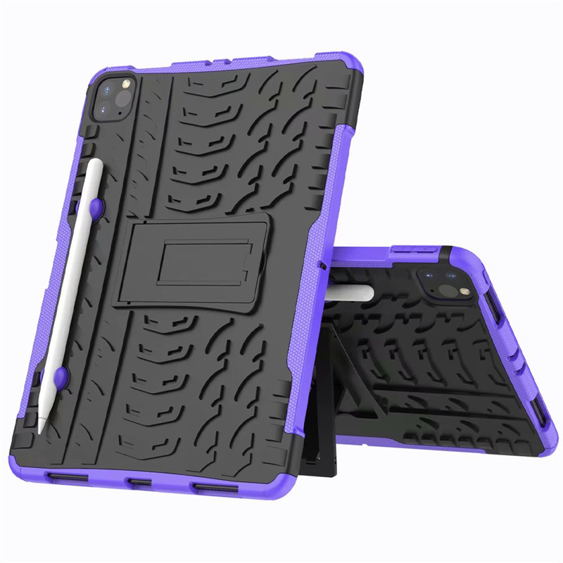 Purple Purple Shockproof Armor Case For New iPad Pro 11 2020 Case With Pencil Holder Flip Stand Cover