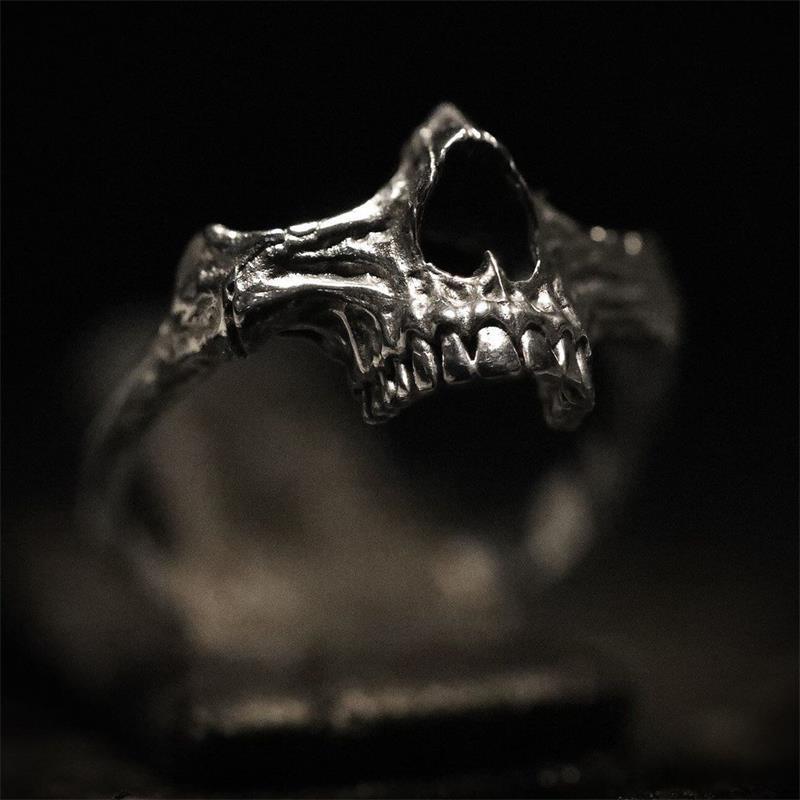 Eyhimd simples homens preto crânio anel 316l aço inoxidável anel esqueleto anéis para homens punk biker festa jóias presentes
