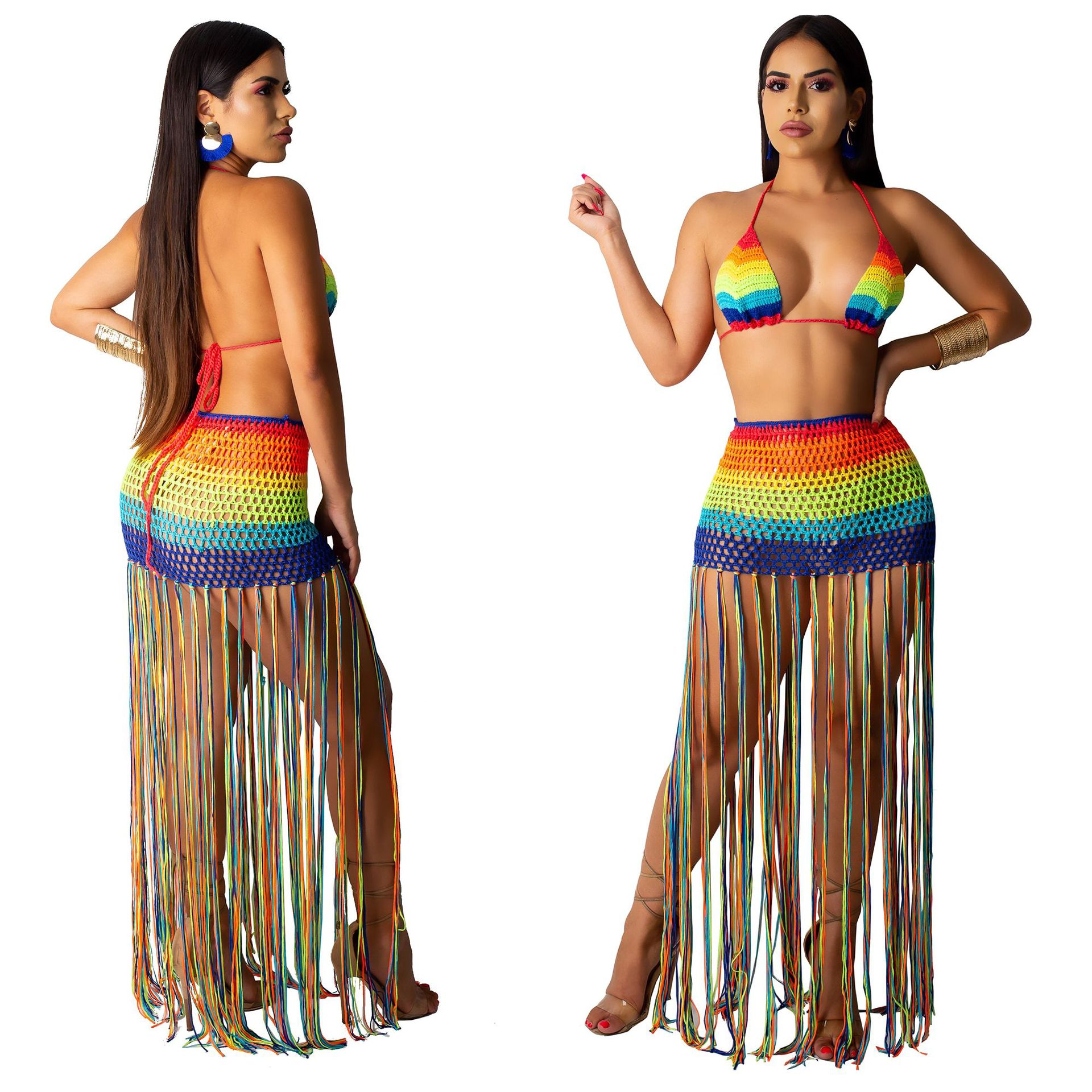 Cross Border Electricity Supplier Hot Selling Europe And America WOMEN'S Dress Sexy Handmade Crocheting Tassels Leisure Suit Swi