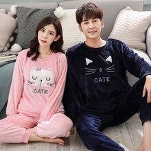Couple Pajamas Sets Winter Flannel Sleepwear Men Home Pyjama
