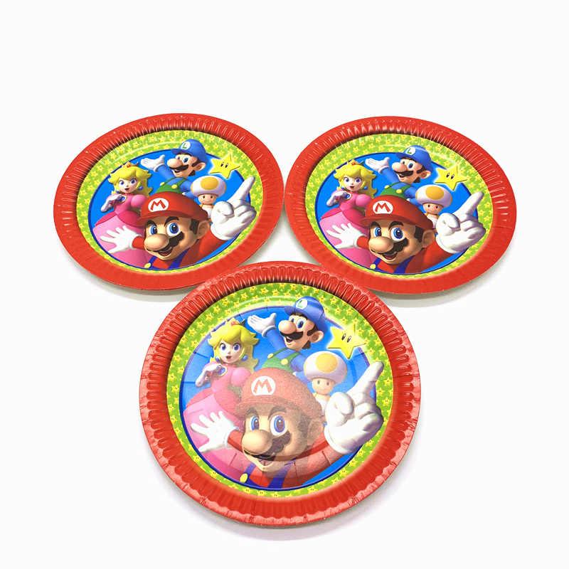 40 Chiếc/60 Chiếc Super Mario Bros Chủ Đề Cô Gái Sinh Nhật Cưới Giấy + Tặng Tấm + Khăn Ăn Sự Kiện đảng Giấy Bộ Đồ Ăn Cung Cấp