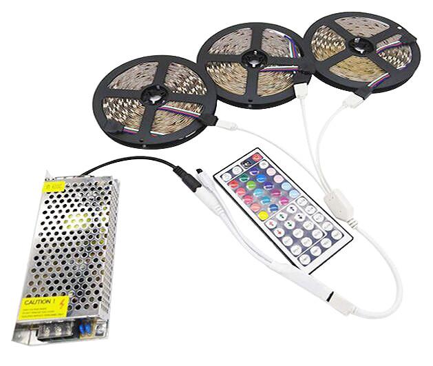 Hdb934d6c122b40b89b5a67520a72f900w LED Strip Light RGB 5050 SMD 2835 Flexible Ribbon fita led light strip RGB 5M 10M 15M Tape Diode DC12V 60LEDs 1M+Control+Adapter