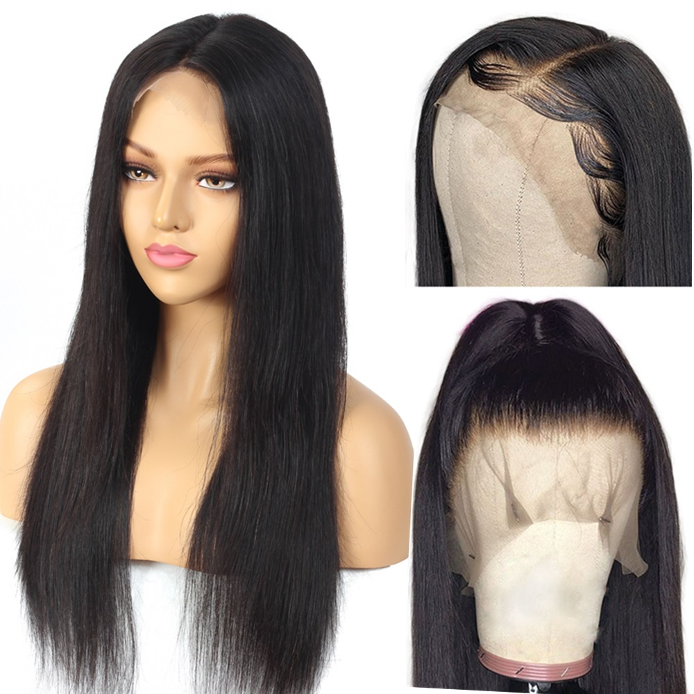 150 Density 8-28inch Straight 13x4 Glueless Lace Front Human Hair Wigs Brazilian Frontal Wig Pre Plucked Natural Hair Line