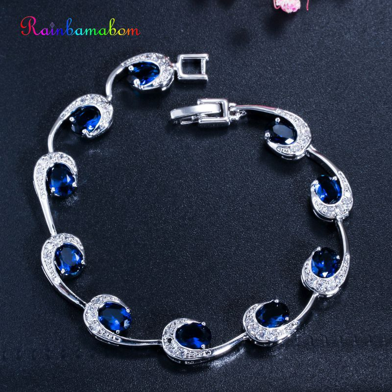 Rainbamabom 925 Sterling Silver Created Moissanite Citrine Sapphire Ruby Gemstone Bangle Charm Bracelets Fine Jewelry Wholesale