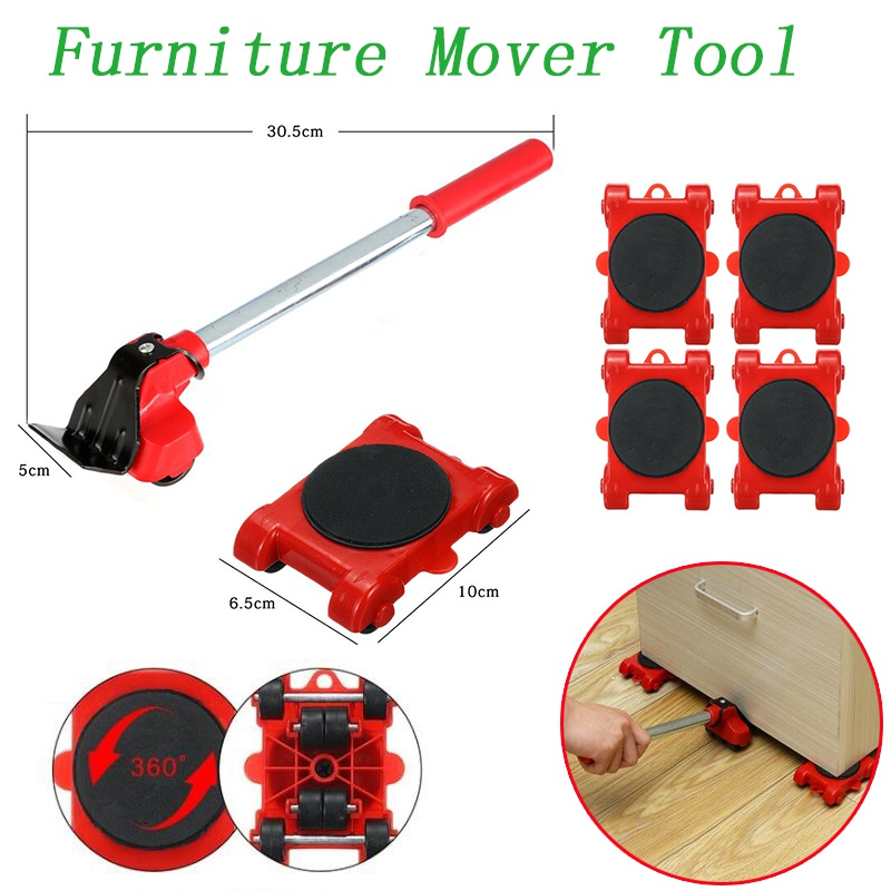 New Heavy Duty Furniture Lifter Transport Tool Furniture Mover set 4 Move Roller 1 Wheel Bar for Lifting Moving Furniture Helper-0