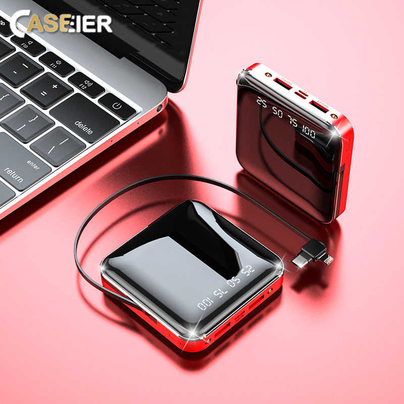 Caseier 20000Mah Power Bank Met Kabel Voor Xiaomi Samsung Digital Display Mini Spiegel Powerbank 10000Mah Poverbank Draagbare Bank