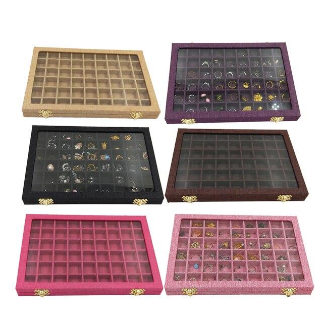 Hat kutusu 54 ızgaraları şeffaf cam kapaklı yüzükler tutucu vitrin takı ambalaj organizatör mücevher kutusu küpe kolye bilezik