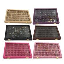 Line Box 54 siatki przezroczysta szklana pokrywa uchwyt na pierścionki prezentacja opakowanie na biżuterie Organizer pudełko na biżuterię na kolczyki naszyjniki bransoletki
