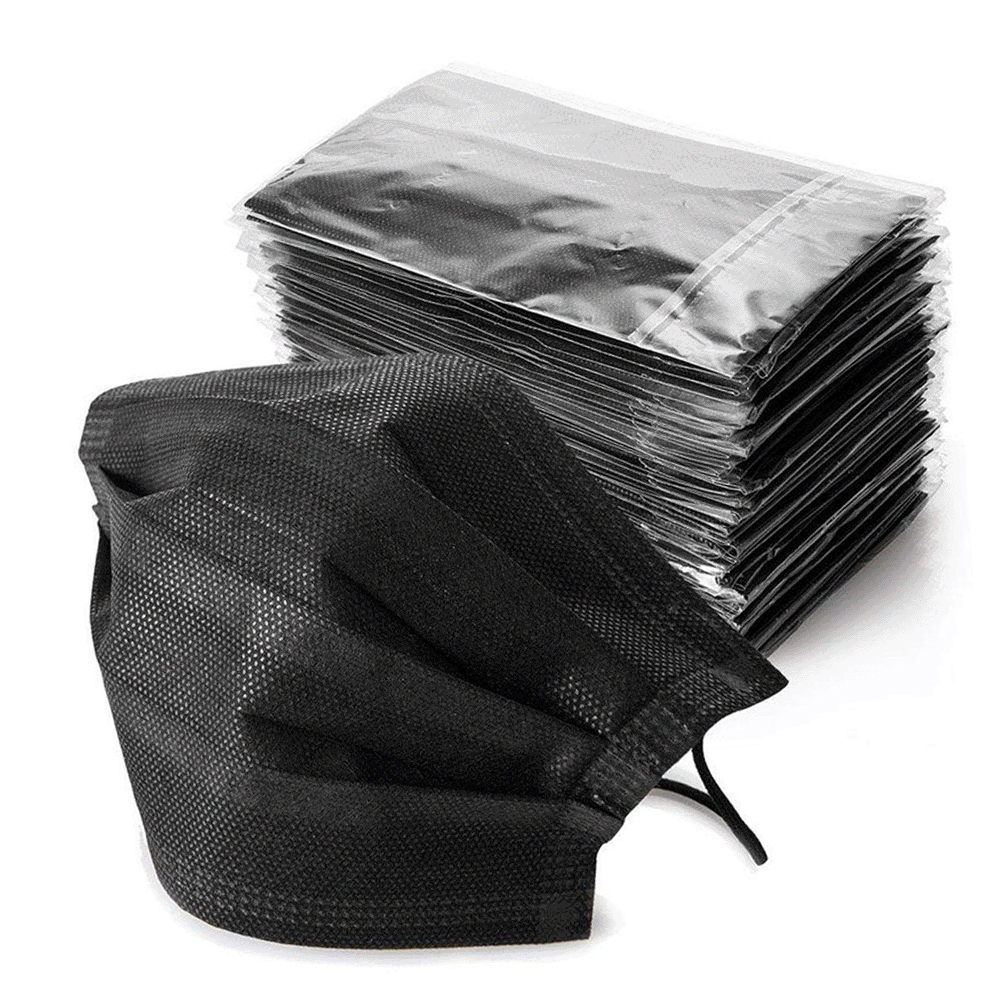 10/50/100Pcs Non-woven 4 Layer Mouth Mask Disposable Black Cotton Mouth Face Anti-Dust Mask Earloop Activated