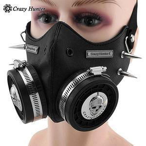 Image 5 - Steampunk Masker Cosplay Skull Masque Mannen/Vrouwen Gothic Leren Masker