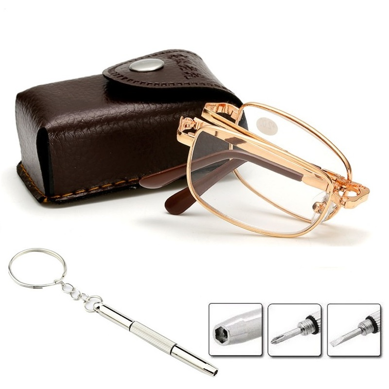 Foldable Reading Glasses Folding Presbyopia Men Women Metal Retro Computer Reading Glasses With Case 1.0 1.5 2.0 2.5 3.0 3.5 4.0