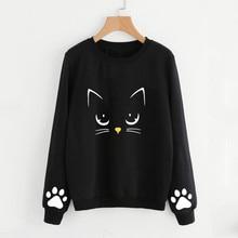 Plus Size Autumn Winter Fashion Women Long Sleeve Cat Print Round Neck Pullover Sweatshirt Girls Casual Pullover Tops Blouse недорого