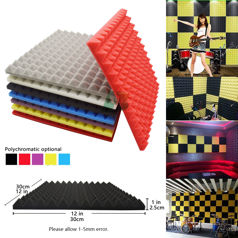 BEIYIN[12/Pack] Pyramid Sound insulation Silencing Studio Acoustic Foam Sound Absorption Tiles Soundproof Panels Fireproof 12x1