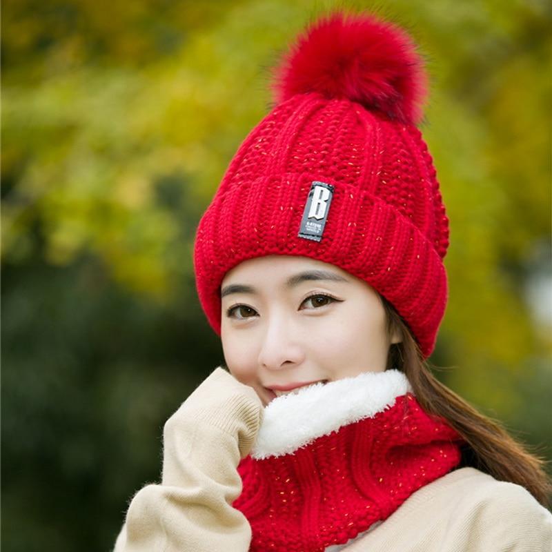 Knitted Winter Hat For Women Neck Warm Girl Wool Beanies Skullies Hat Mask Bonnet Femme Balaclava Scarf Hat Set Winter Hat