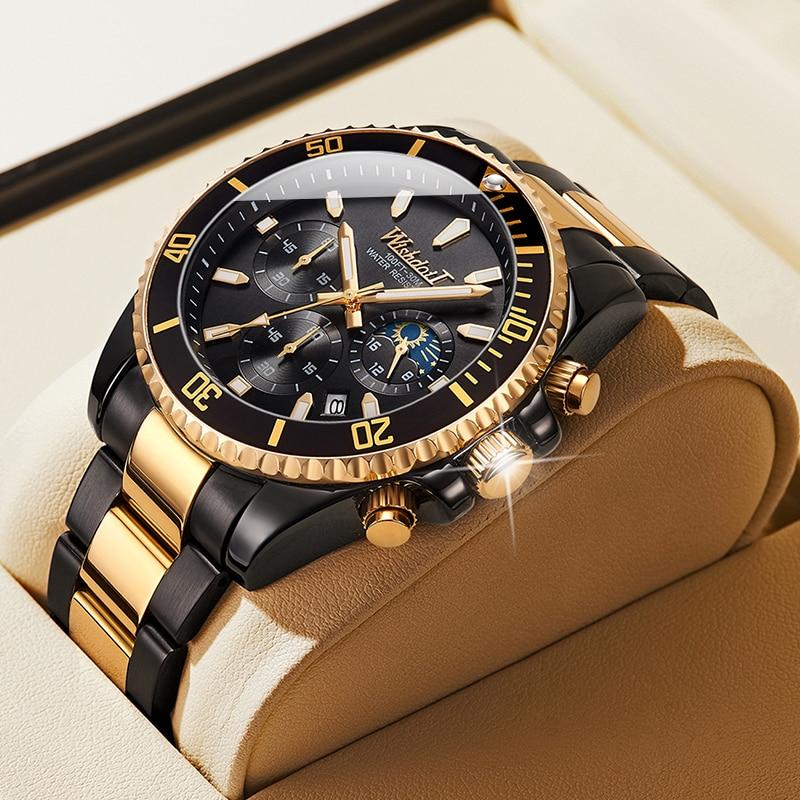 WISHDOIT 2021 New Men's Casual Sports Watch, Top Luxury Brand Men's Watch, Waterproof Luminous Stainless Steel Men's Wrist Watch