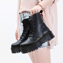 Jadon 8-Eye Doc Boots Women High Platform Ankle Shoes Chunky