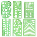6 pçs/set Regra Transparente Modelo de Desenho Ferramenta de Projeto Arquitetônico Stencil Governante Ferramenta de Medição