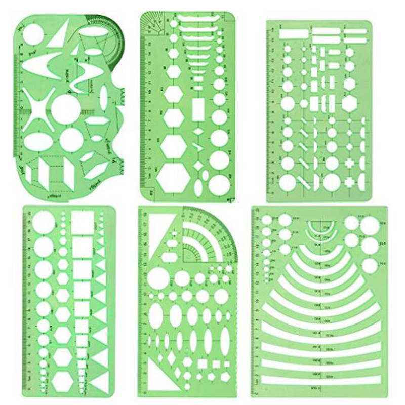 6 pcs/set Rule Transparent Drawing Template Tool Architectural Design Ruler Stencil Measuring Tool image