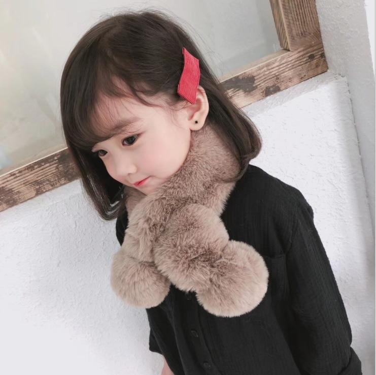 2019 inverno bonito crianças cachecol menino meninas cachecóis bebê imitação de pele de coelho colar cachecol com pompom pescoço aquecedores feminino presente