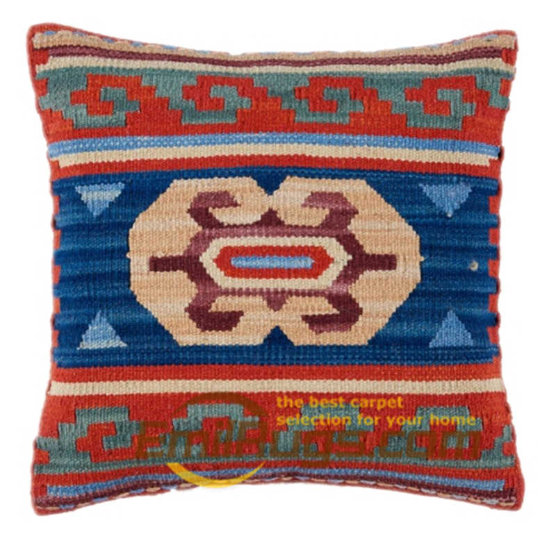 Wool Kilim Floral Pillow / Cushion Cover Handmade Woven Bed Head Cushions New Wool Woolen Needlepoint Christmas Round Cushion