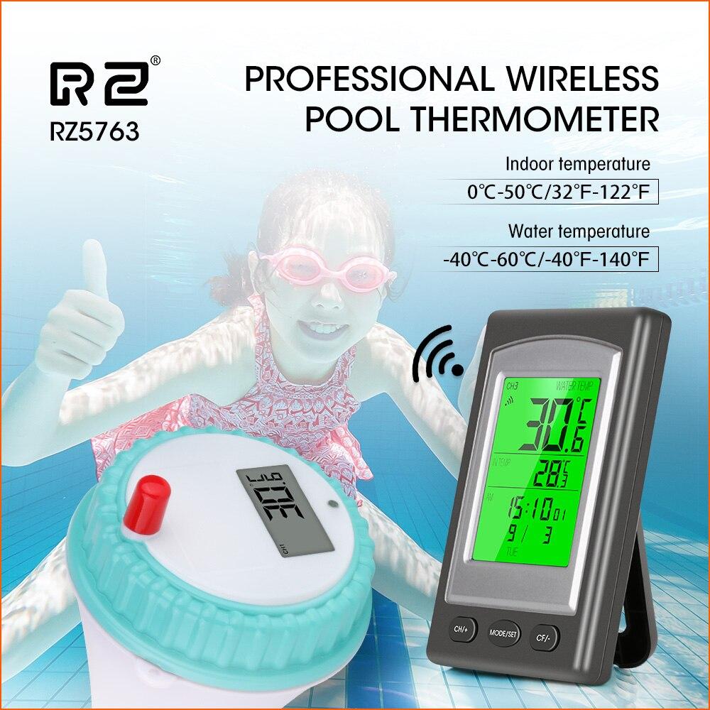 RZ Wireless Pool Thermometer Swim Spa Water Hot Tub Home Temperature Meter Calendar Alarm Clock Waterproof Outside Sensor