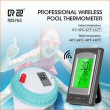RZ اللاسلكية تجمع ميزان الحرارة السباحة سبا المياه حوض استحمام ساخن المنزل مقياس الحرارة التقويم ساعة تنبيه مقاوم للماء خارج الاستشعار