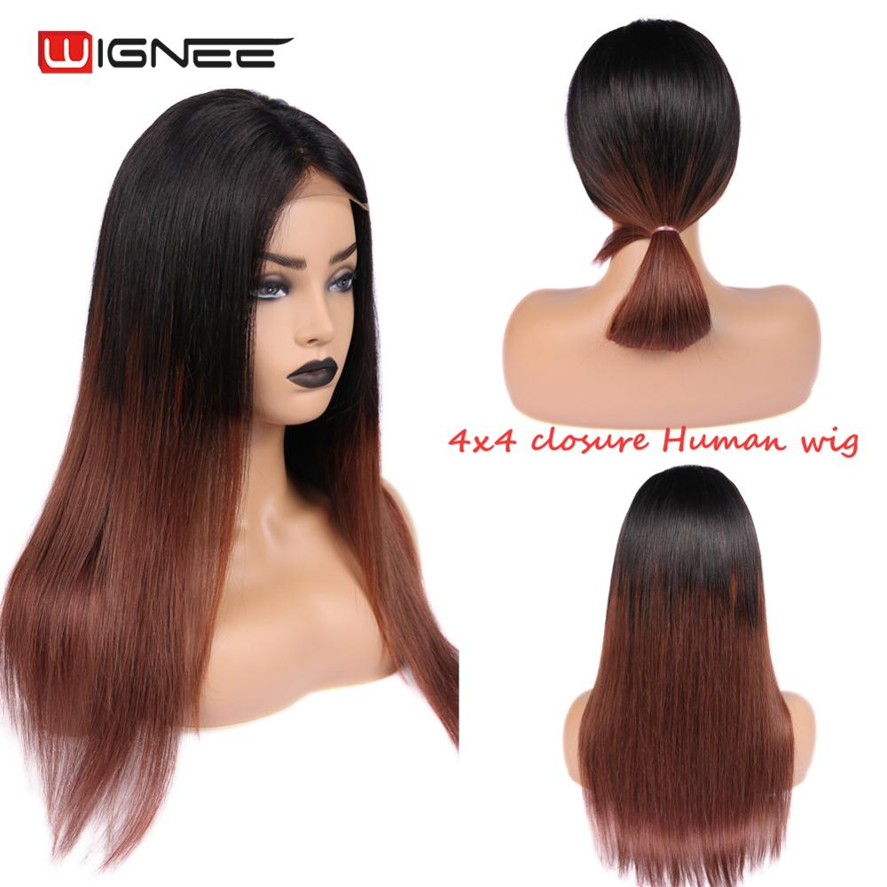 Wignee Ombre Brown 1B 33# 4x4 Lace Closure Human Hair Wig For Black/White Women Remy Brazilian Straight Hair Lace Part Human Wig