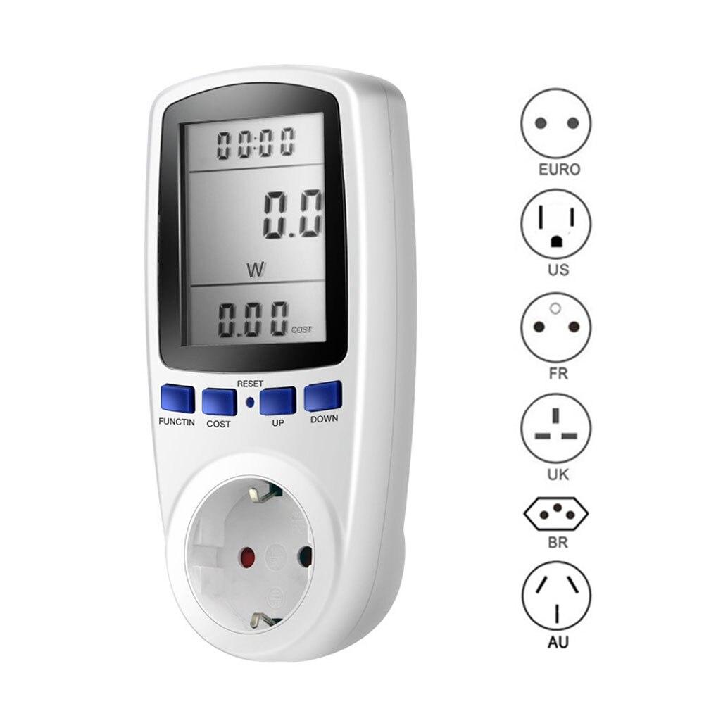 New 220V AC EU Digital LCD Power Meter Wattmeter Socket Wattage Kwh Energy Meter FR US UK AU BR Measuring Outlet Power Analyzer