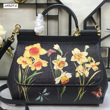 Genuine Leather Women Handbag Satchel Bag Flower Printed Painted Shoulder Bag Real Cow Leather Tote Luxury Famous Brand Designer briggs new 2018 vintage genuine leather women bag plaid natural cow leather shoulder bag famous brand women handbag casual tote