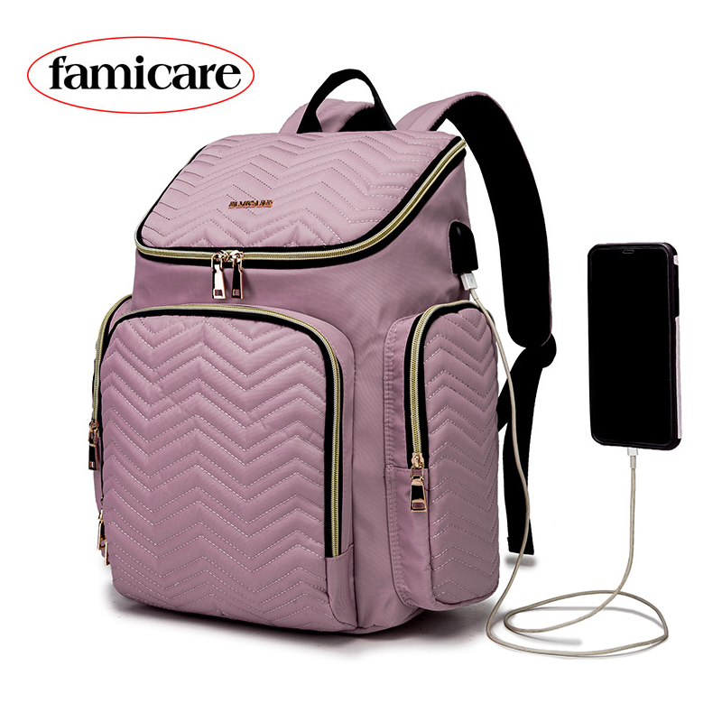 2020 Fashion Diaper Bag Backpack Baby Stroller Bag USB Charging Waterproof Women Maternity Nursing Nappy Backpack Travel Bags