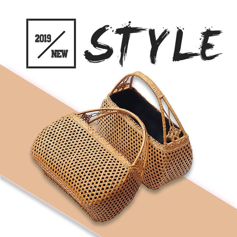 Female Bamboo hand Bags Bohemian Beach Handbag Lady Vintage  Rattan handbag Hollow Handmade Woven Basket ToteTop-Handle Bags   -