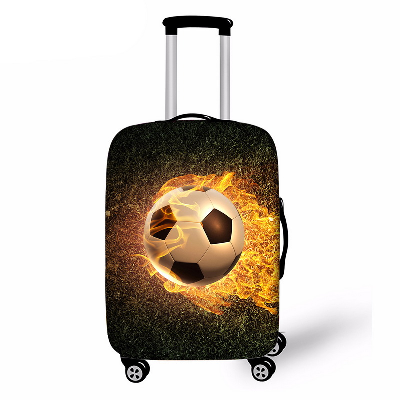 JODIMITTY Elastic Luggage Cover Thick 3D Soccer Print Suitcase Protective Fit 18-32 Suitcase Cases Travel Accessories Dustproof