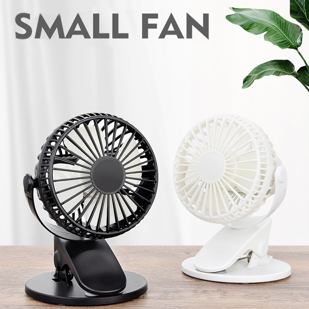360° Rechargeable USB Clip On Mini Desk Fan Black Portable Table-Top Fan Fully Adjustable Head Quiet For Office Home
