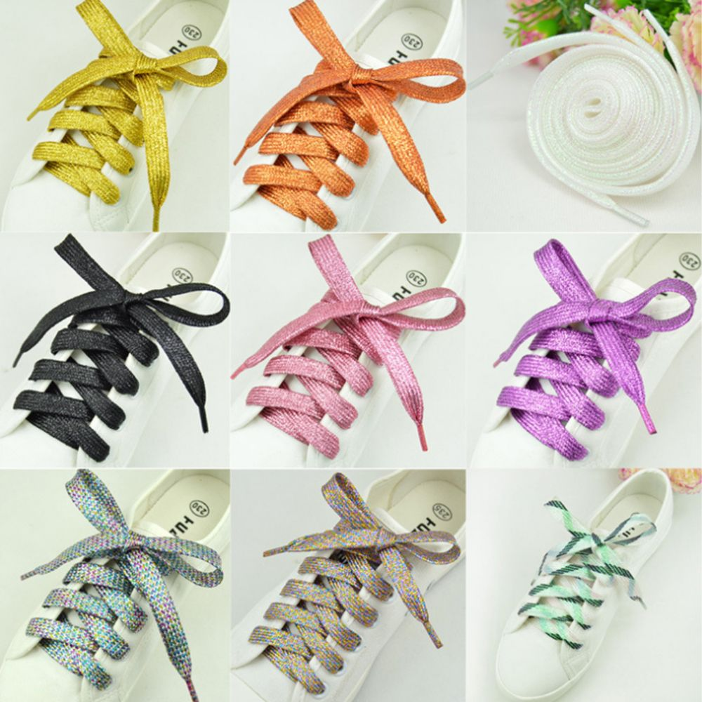 1pair Colorful Shiny thread Sneakers Flat Shoelaces Party