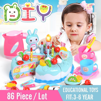 86pcs DIY Pretend Play Fruit Cutting Birthday Cake Kitchen Toys Simulation Miniature Food Educational Gift For Girls Children 1