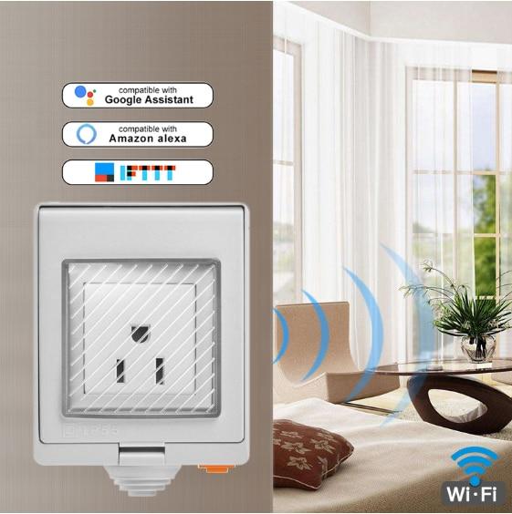 Sonoff S55 wodoodporna inteligentne gniazdo Wifi przełącznik współpracuje z Amazon Alexa asystent Google IFTTT przełącznik Wifi inteligentny dom UK/AU/ usa/ZA